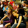 Allegra Boverman/Gloucester Daily Times. During the final assembly at the Gloucester Community Arts Charter School on Wednesday morning. From left, seated at front, are eighth graders Shannon Kelly and Lydia Giangregorio.
