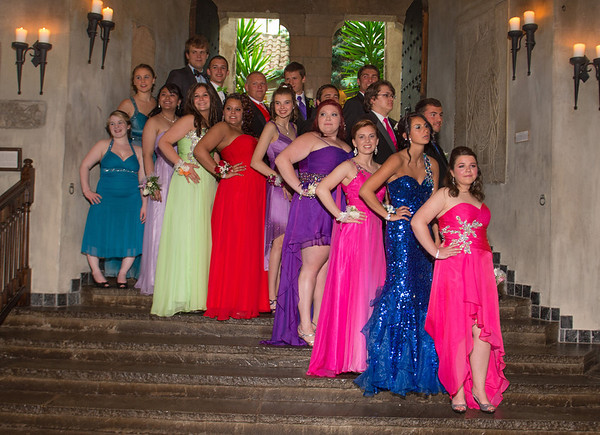Desi Smith/Gloucester Daily Times. Promgoers gather on the main stairs for photos at Hammond Castle before going to the Gloucester High School prom on Friday afternoon.
