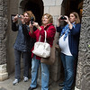 Desi Smith/Gloucester Daily Times.  From left, Shelly Ciolino, Janice Svensson and Melissa Francis photograph promgoers in the garden at Hammond Castle before they went to the Gloucester High School prom on Friday afternoon.