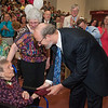 Desi Smith/Gloucester Daily Times. Superintendent of Schools Dr. Richard Safier hands 92 year old Lucia McLaughlin her depolma at the graduation of GHS Class of 2013 Sunday afternoon in the Benjamin A Smith Fieldhouse. Lucia had to leave school many years ago to help her family and was unable to get her deploma at that time.      June 9,2013