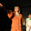 Jim Vaiknoras/ Gloucester Daily Times: Emily Brier as Old Samatha Collins and Meave Pleuler as young Samatha Collins in The Page: The untold story of Samantha Elizabeth Collins, at Summer Playcamp at the Annie in Gloucester.
