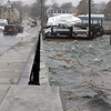 Allegra Boverman/Gloucester Daily Times. The newly reconstructed causeway in downtown Essex got flooded on Monday. The road was closed for some time.