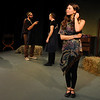"""Jim Vaiknoras/Gloucester Daily Times:From the left,Cole Bauke as Hermia, Andrew Hoover as Demetrius, Matthew Recine as Lysander and Rachel Sternlicht as Helena in the Cape Ann Shakespeare troupe' s  """"Shakespeare in Two Acts,"""" at the Gloucester Stage Co."""