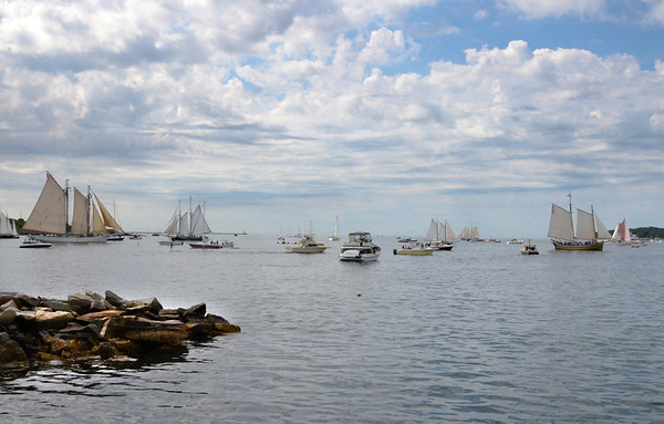 Gloucester:   Schooner fill Gloucester Harbor,as spectators motor out in their boats to get a better look at the Parade of Sails Sunday morning.  Desi Smith/Gloucester Daily Times. September 2, 2012