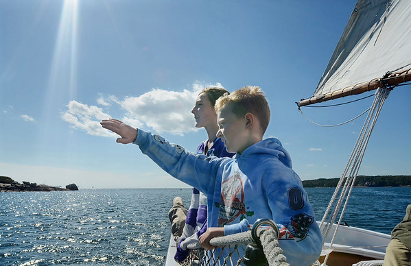 """Mike Springer/Gloucester Daily Times<br /> """"I like trying to convey what an experience feels like, rather than simply what it looks like. In this situation, two students from Plum Cove Elementary School, Connor Vittands and Emily Ross, were on a field trip aboard the schooner Thomas E. Lannon in late September. With a light breeze and brilliant sunshine, it was a beautiful day to be out on the water."""""""