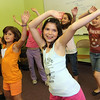 "ALLEGRA BOVERMAN/Staff photo. Gloucester Daily Times. Gloucester: Rehearsing their talent show piece, ""Dynamite""  in June, are, front row, from left Gloucester Community Arts Charter School students Ila Brown, Luciana LoCoco and Malora Corrao. Behind them, from left are: Nora Backstrom, Amarrah Woo and Marisa DiMeo. Missing is their classmate Natasha Akerley. There were 27 acts - students and teachers were participating -  for the talent show."