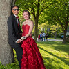 Desi Smith/Gloucester Daily Times. Paul Genovese and Meghan Reilly pose for a photo outside Rockport High School before their prom on Friday night. Reilly made the red rose gown herself.   May 17,2013