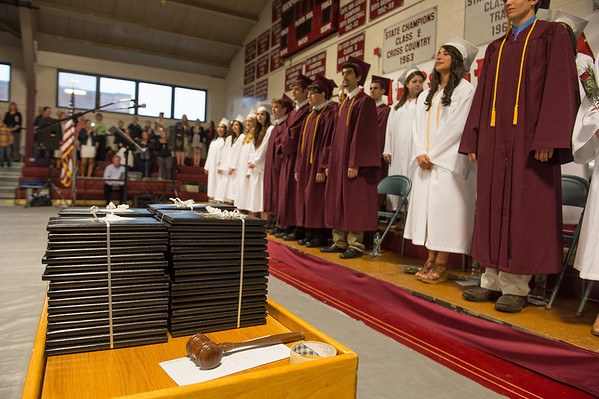 Desi Smith/Gloucester Daily Times.      The Class of 2013 gather at Rockport High School to receive their diplomas Friday night. June 7,2013
