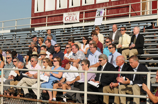 September 14, 2012 photo<br /> Gloucester: Local supporters and contributors sit in the stands for the last time at the Ground Breaking Ceremony at Newell Stadium Friday morning.  Desi Smith/Gloucester Daily Times. September 14, 2012