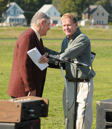 September 14, 2012 photo<br /> Gloucester: Jonathan Pope introduces Dick Wilson to the mic to speak at the Ground Breaking Ceremony at Newell Stadium Friday morning.  Desi Smith/Gloucester Daily Times. September 14, 2012