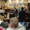 David Rosen of The Gloucester Hornpipe & Clog Society tells a tale to the audience during a concert at the Lunenburg Public Library.  SENTINEL&ENTERPRISE/ Jim Marabello