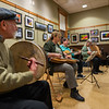 David Rosen of The Gloucester Hornpipe & Clog Society plays the bodhran, or traditional Celtic frame drum,   during a concert at the Lunenburg Public Library.  SENTINEL&ENTERPRISE/ Jim Marabello