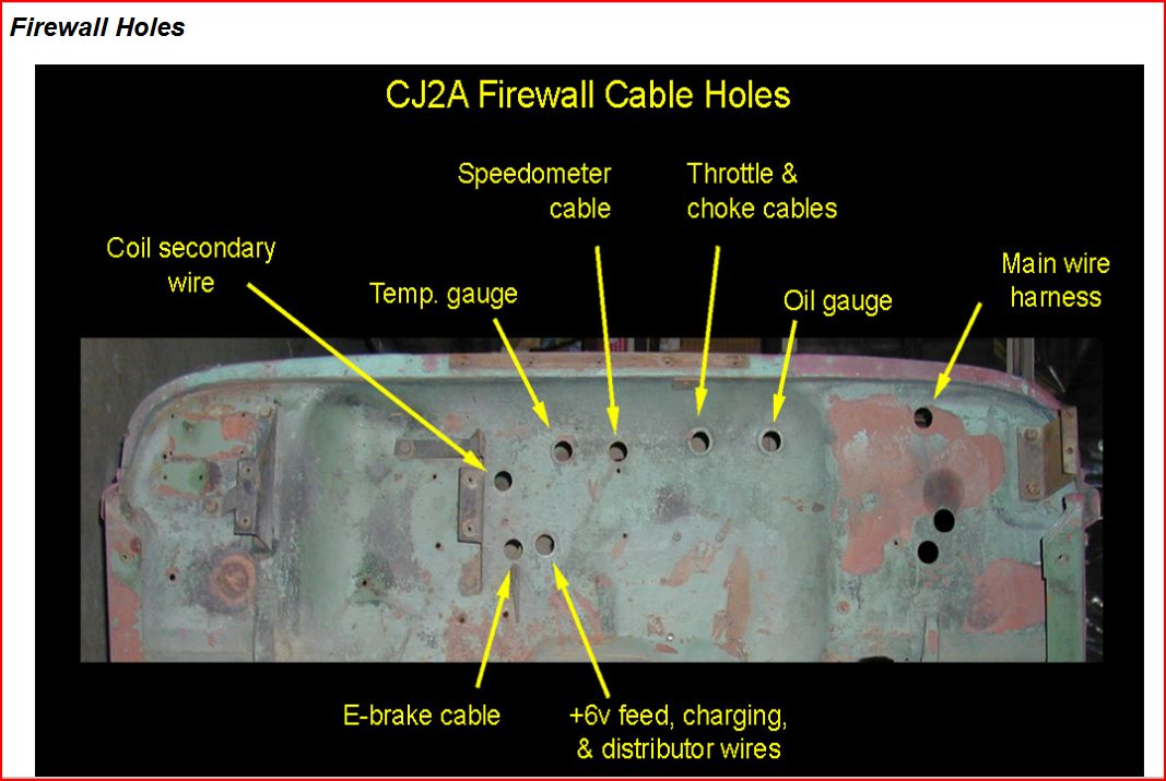 CJ2A Firewall Cable Holes 1948 willys jeep cj2a project mics erv hunt images