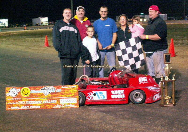".  Charles Vallandingham # 15 won the $2000 purse in the Animal Hvy 50 lap feature held <br /> at U. S. 13 Kart Club Track.   Charlie Vallandingham # 15 takes home a cool $2000. Remaining  winners - Richie Hornsby won Stock Hvy and $1000, Junior I, II, III winners took home $500 each. Will Argo, J B Loomis, and Alex White<br />   October 11, 2008 1st Annual Diamond State ""50"" Shoot Out"