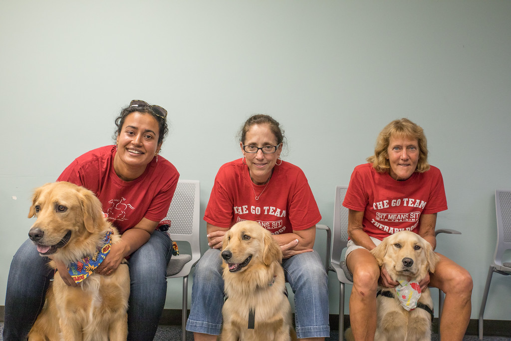 . From Left, Anu and her dog Griffin,  Mary Druzinski and her dog Gracy and Janet Dohr and her dog Sutton (Photo by Dean Potter / For Digital First Media)