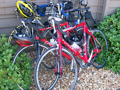 The Hernando Bikes thrown in a pile