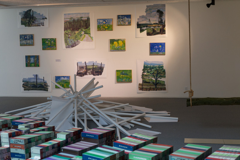Vestjyllands Kunstpavillon - LOCAL HEROES 15-09 - 28.10.2012<br /> Artists: René Schmidt, Sophie Hjerl (Mikado), Lars Heiberg/Poul Mathisen (Om og i naturen), Anna Bak (In the Woods we return to Reason and Faith)<br /> <br /> Videbæk Sept 22 2012 @ 14:49