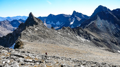Out of the boulder field nearing the false south summit. The Nudl is now true to form. The two dominant peaks on the right are Old Hyndman and Hyndman.