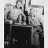P00052 Two sailors in work uniform seated at table with coffeepot EDGAR