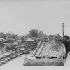 P00105 Pontoon bridge next to destroyed bridge, probably Japan, 1945