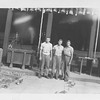 P00145 Three sailors in work uniform standing (probably Japan, 1945)
