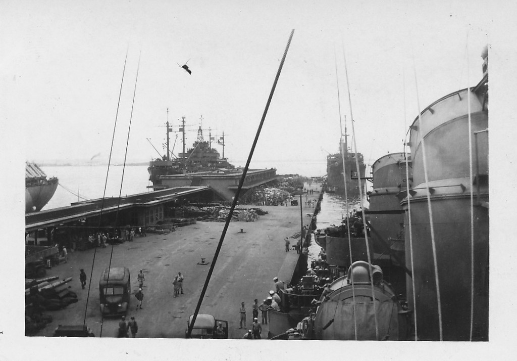 P00157 Pier from signal bridge (probably Japan, 1945)