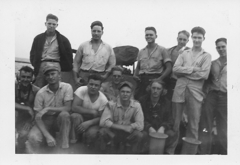 P00144  Twelve sailors in work uniform on main deckjpg
