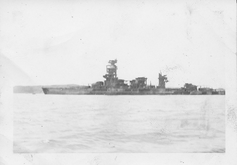 P00169 Cruiser (?) moored (probably Tokyo, 1945)