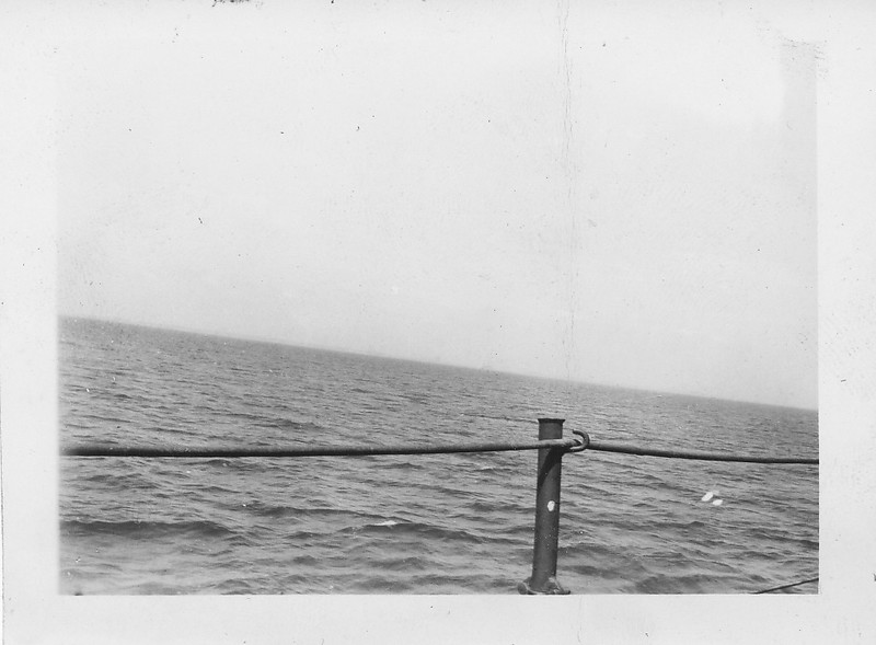 P00168 Foggy mainland from main deck (probably Tokyo, September, 1945)
