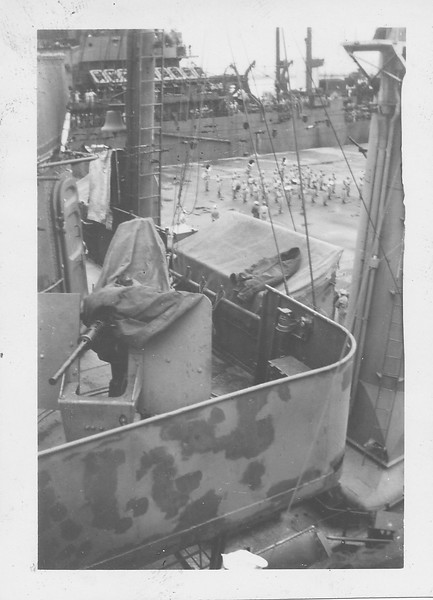 P00150 View of band on pier over 50 cal  on signal bridge