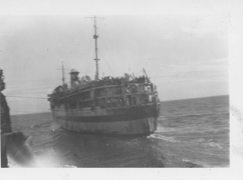 P00159 USS Rescue AH 18, docking in Japanese waters, 1945