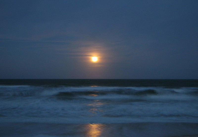 Dusky full moon over St. Augustine Beach