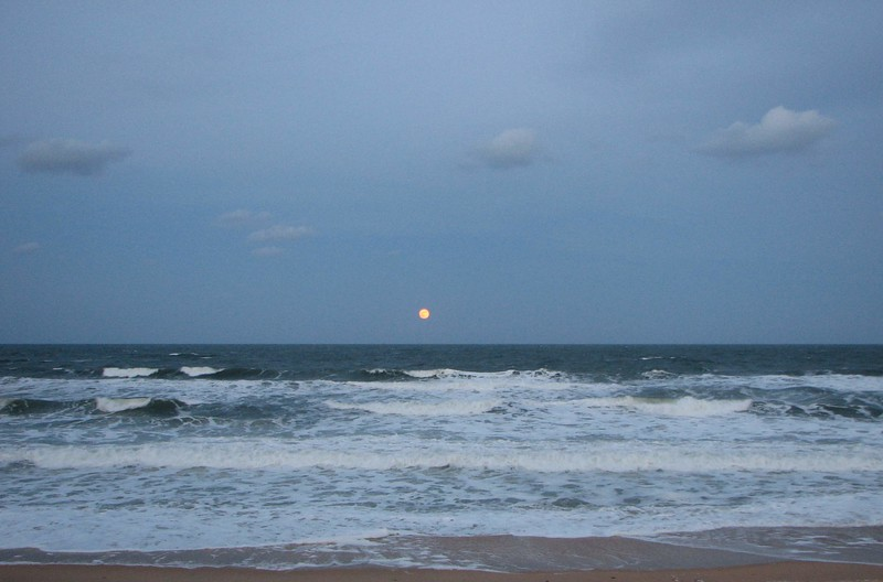 Day light full moon over St. Augustine Beach