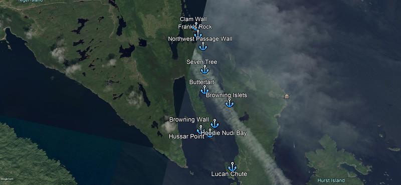 God's Pocket dive sites that Phil arranged using GPS.