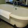 A picture of the clawfoot bathtub in our hotel suite.