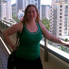 Meaghan looking radiant. (looking out over Kuhio ave from our hotel.)
