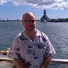 Stu in front of the Battleship Missouri.