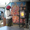 Glass blowing.