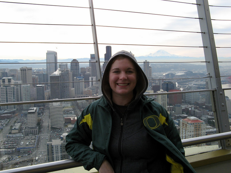 Meaghan at the top of the Space Needle in Seattle.