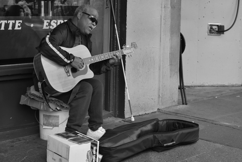 Busking outside the first Starbucks.