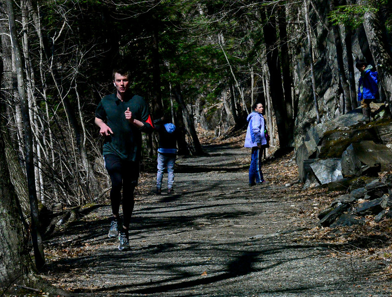 KRISTOPHER RADDER — BRATTLEBORO REFORMER<br /> People get some exercise on a sunny day at the West River Trail, in Brattleboro Vt., as they try to keep some distance during the COVID-19 outbreak on Saturday, March 21, 2020.