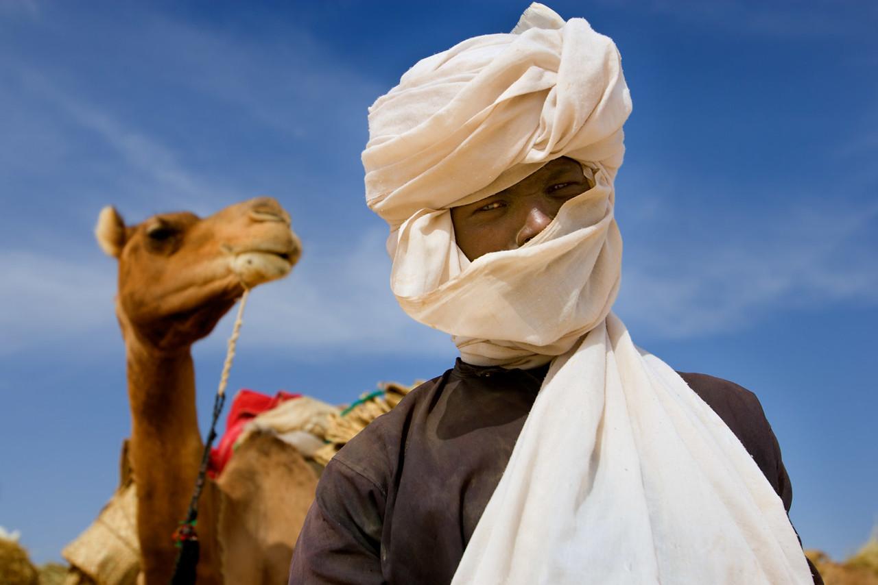 Man and camel, salt caravan. Ténéré dessert, near Fachi.