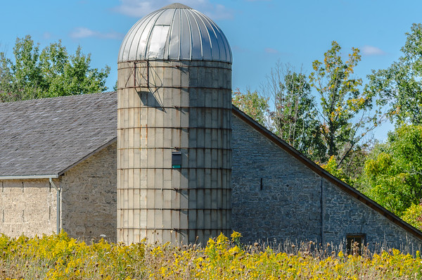 Silo in autumn field