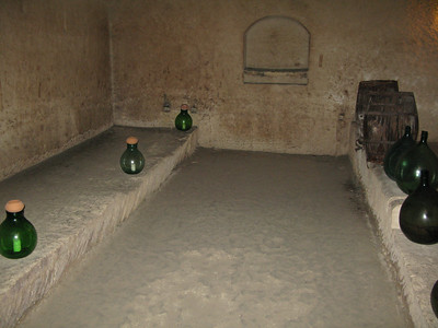 Inside the museum cave dwelling - the wine cellar