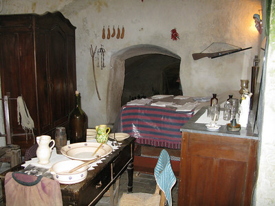 Inside the museum cave dwelling - bedroom and eating room for the whole family