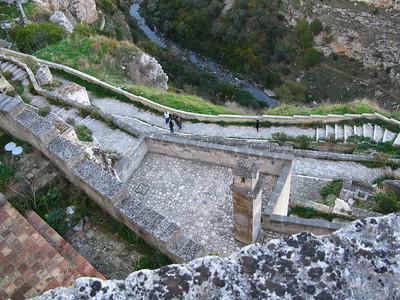 Vertigo! Looking down from one of the upper terraces in Sasso Caveoso
