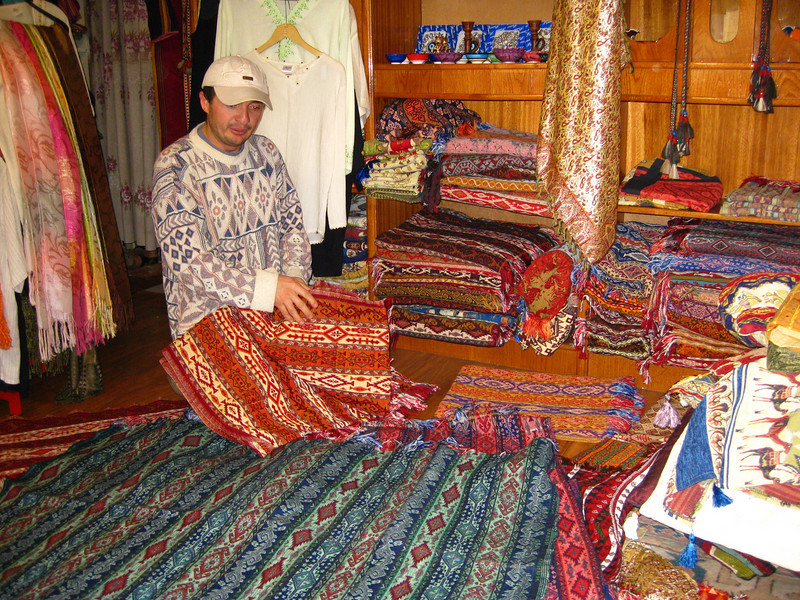 Mehmet showing us textiles