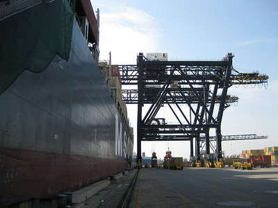 Gantries and cranes loading MSC Alessia