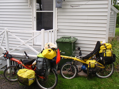 Bikes ready to go again, for another day of riding in the rain.