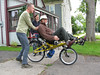Dad trying out Becky's recumbent
